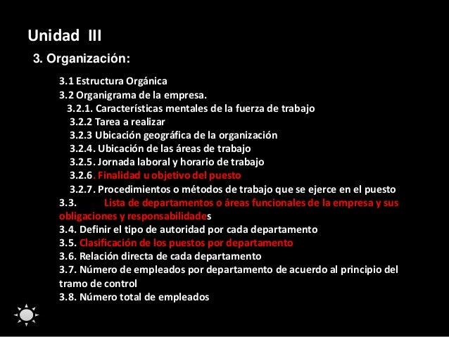 Unidad III 3. Organización: 3.1 Estructura Orgánica 3.2 Organigrama de la empresa. 3.2.1. Características mentales de la f...