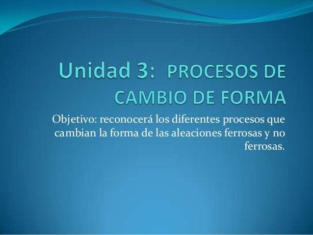 Objetivo: reconocerá los diferentes procesos que cambian la forma de las aleaciones ferrosas y no ferrosas.