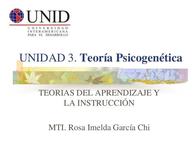 UNIDAD 3. Teoría Psicogenética TEORIAS DEL APRENDIZAJE Y LA INSTRUCCIÓN MTI. Rosa Imelda García Chi