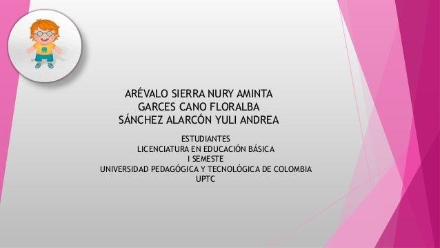 ARÉVALO SIERRA NURY AMINTA  GARCES CANO FLORALBA  SÁNCHEZ ALARCÓN YULI ANDREA  ESTUDIANTES  LICENCIATURA EN EDUCACIÓN BÁSI...