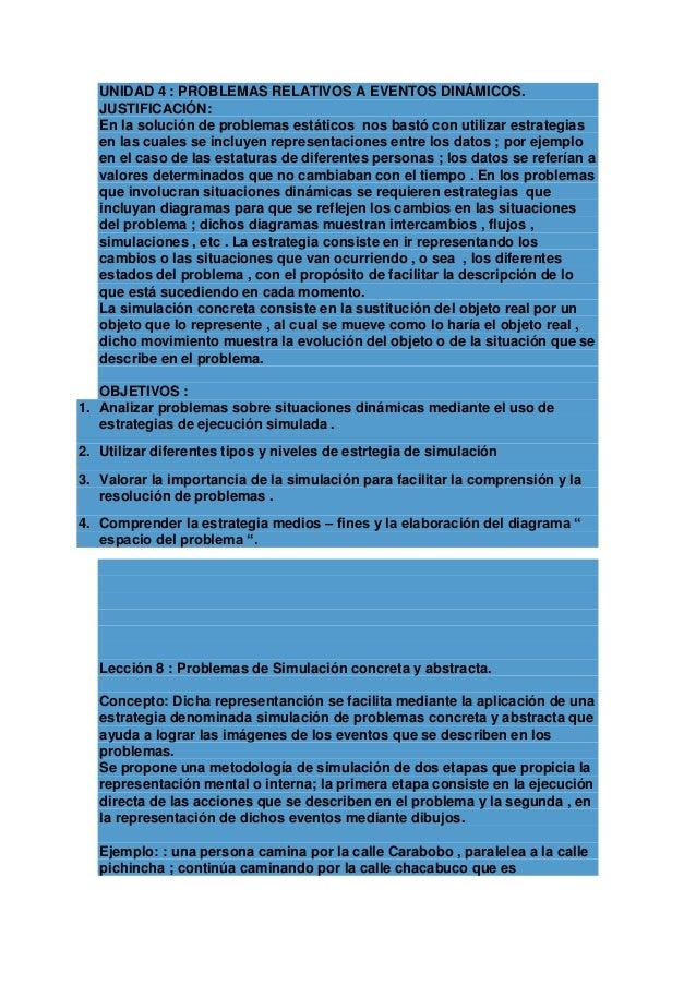UNIDAD 4 : PROBLEMAS RELATIVOS A EVENTOS DINÁMICOS. JUSTIFICACIÓN: En la solución de problemas estáticos nos bastó con uti...