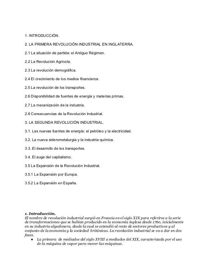 1. INTRODUCCIÓN.2. LA PRIMERA REVOLUCIÓN INDUSTRIAL EN INGLATERRA.2.1 La situación de partida: el Antiguo Régimen.2.2 La R...