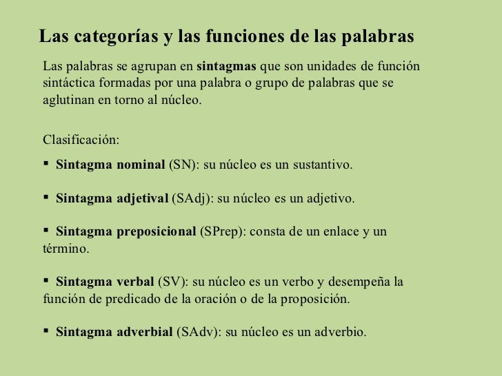 Las categorías y las funciones de las palabras Las palabras se agrupan en  sintagmas  que son unidades de función sintácti...