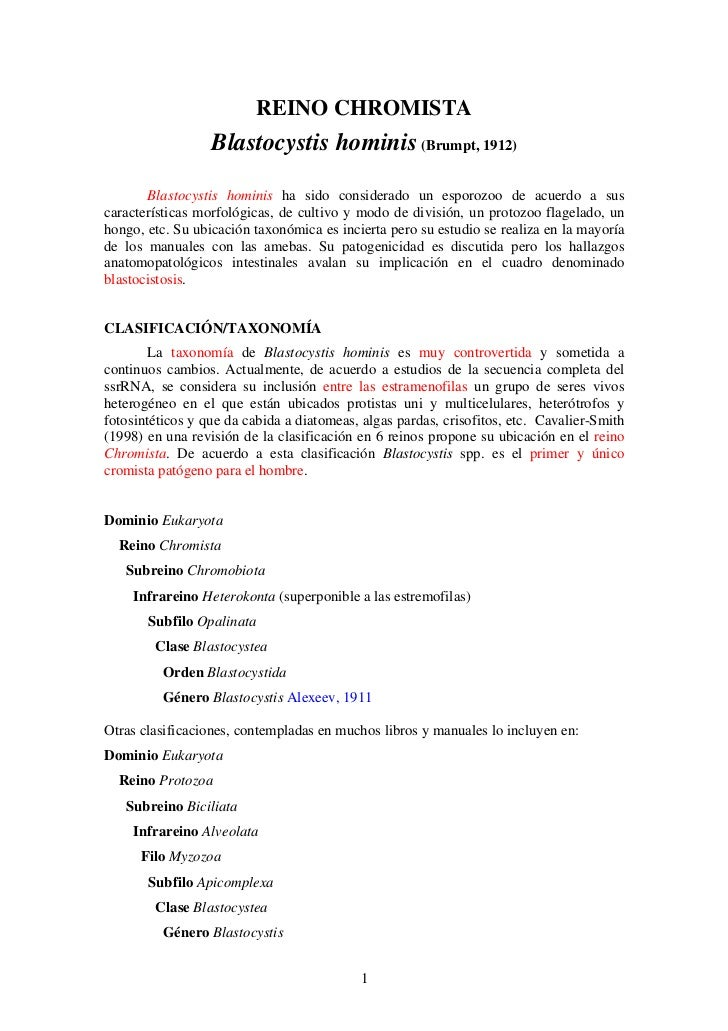 REINO CHROMISTA                  Blastocystis hominis (Brumpt, 1912)       Blastocystis hominis ha sido considerado un esp...