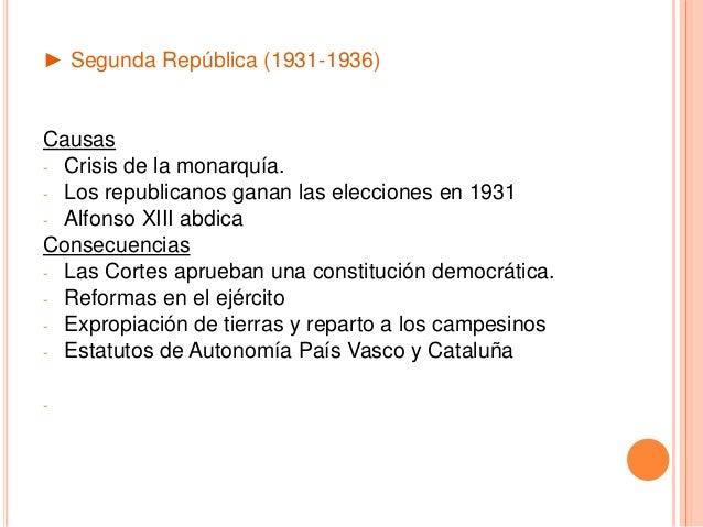 ► Segunda República (1931-1936) Causas - Crisis de la monarquía. - Los republicanos ganan las elecciones en 1931 - Alfonso...
