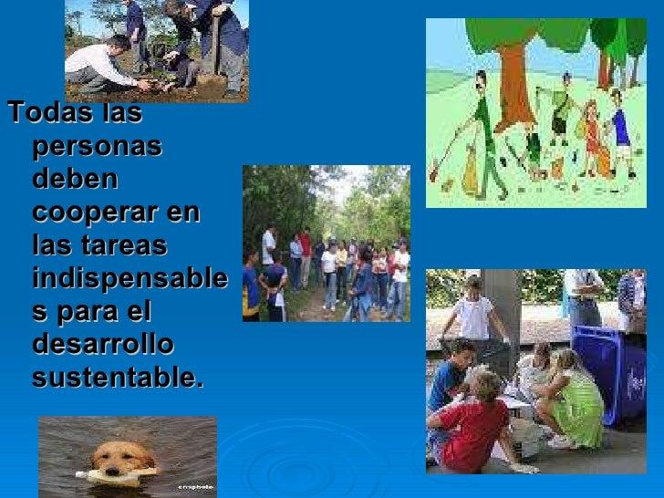<ul><li>Todas las personas deben cooperar en las tareas indispensables para el desarrollo sustentable.   </li></ul>