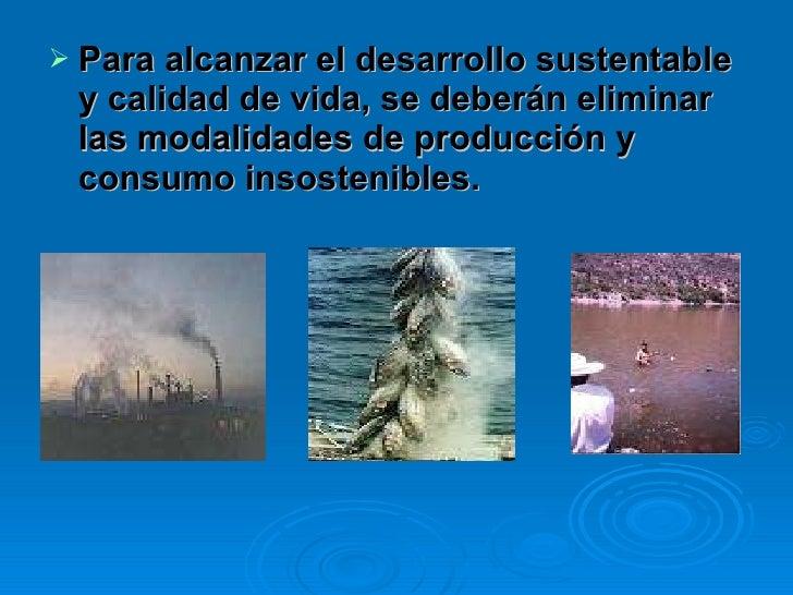 <ul><li>Para alcanzar el desarrollo sustentable y calidad de vida, se deberán eliminar las modalidades de producción y con...