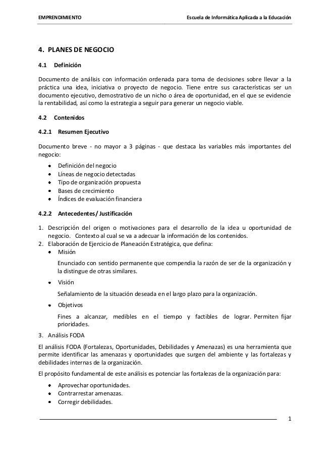 EMPRENDIMIENTO  Escuela de Informática Aplicada a la Educación  4. PLANES DE NEGOCIO 4.1  Definición  Documento de análisi...