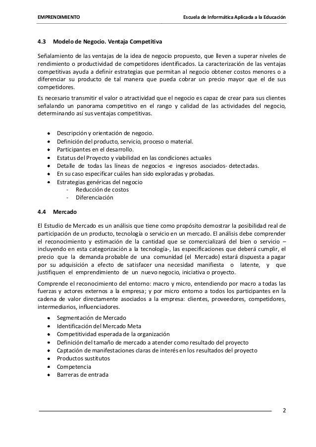 EMPRENDIMIENTO  4.3  Escuela de Informática Aplicada a la Educación  Modelo de Negocio. Ventaja Competitiva  Señalamiento ...