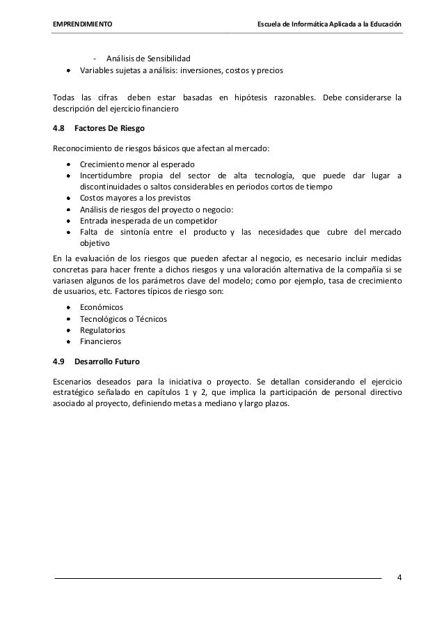 EMPRENDIMIENTO  Escuela de Informática Aplicada a la Educación  - Análisis de Sensibilidad Variables sujetas a análisis: i...