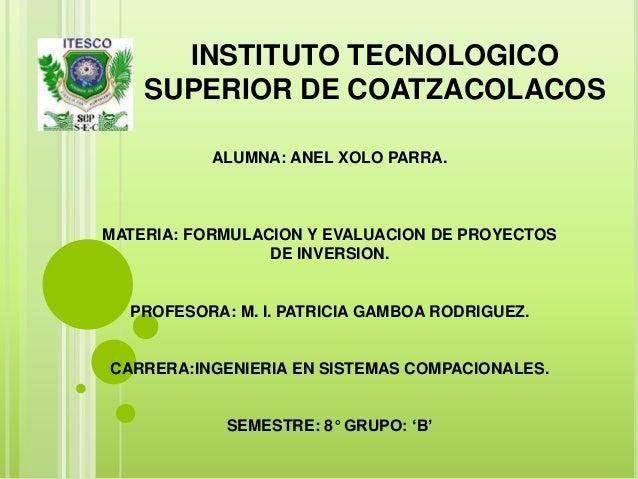 INSTITUTO TECNOLOGICOSUPERIOR DE COATZACOLACOSALUMNA: ANEL XOLO PARRA.MATERIA: FORMULACION Y EVALUACION DE PROYECTOSDE INV...