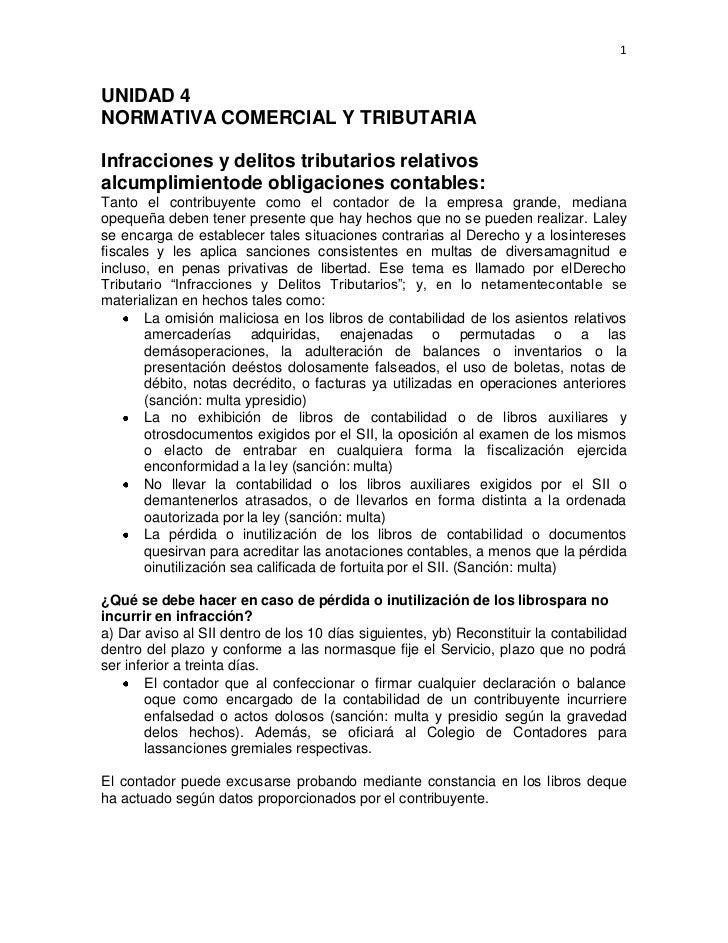 1UNIDAD 4NORMATIVA COMERCIAL Y TRIBUTARIAInfracciones y delitos tributarios relativosalcumplimientode obligaciones contabl...