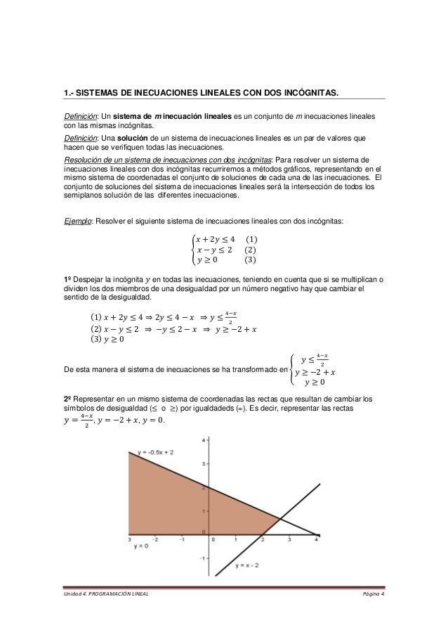 Unidad 4. PROGRAMACIÓN LINEAL Página 4  1.- SISTEMAS DE INECUACIONES LINEALES CON DOS INCÓGNITAS.  Definición: Un sistema ...