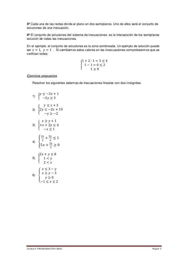 Unidad 4. PROGRAMACIÓN LINEAL Página 5  3º Cada una de las rectas divide al plano en dos semiplanos. Uno de ellos será el ...
