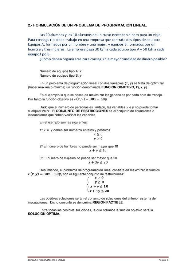 Unidad 4. PROGRAMACIÓN LINEAL Página 6  2.- FORMULACIÓN DE UN PROBLEMA DE PROGRAMACIÓN LINEAL.  Las 20 alumnas y los 10 al...