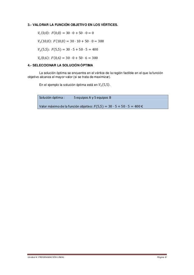 Unidad 4. PROGRAMACIÓN LINEAL Página 8  3.- VALORAR LA FUNCIÓN OBJETIVO EN LOS VÉRTICES.  4.- SELECCIONAR LA SOLUCIÓN ÓPTI...