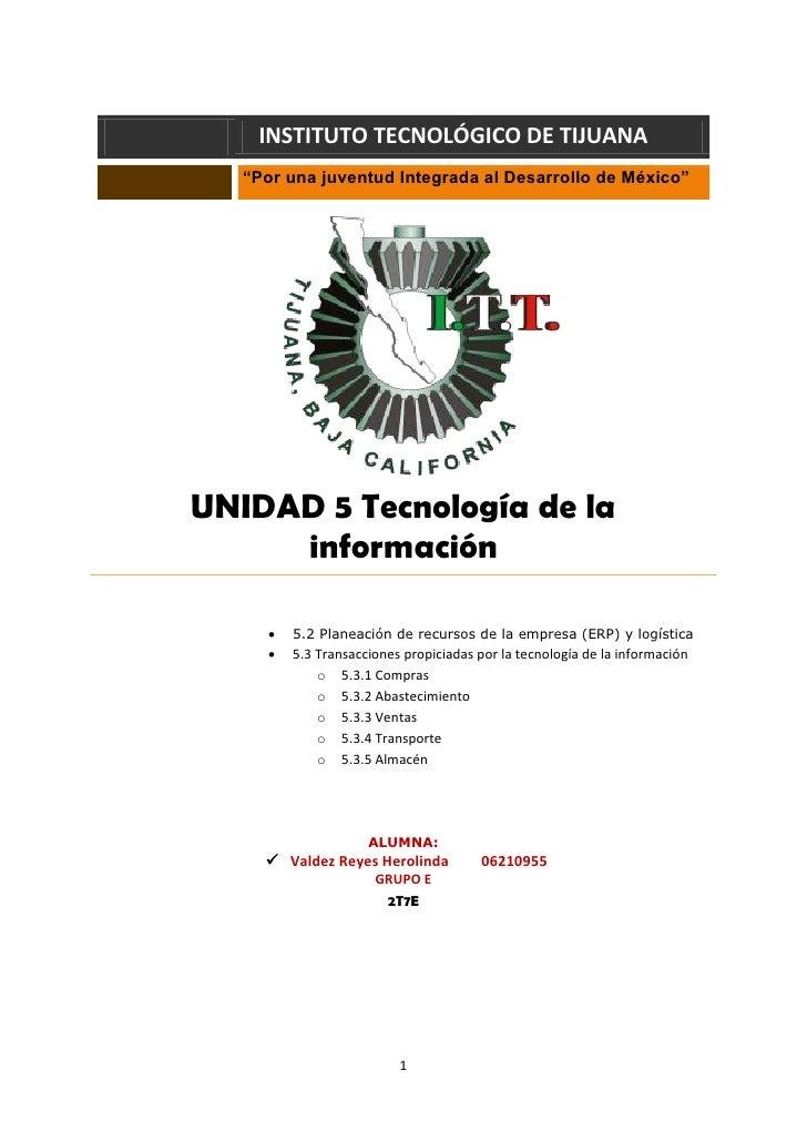 """INSTITUTO TECNOLÓGICO DE TIJUANA    """"Por una juventud Integrada al Desarrollo de México""""     UNIDAD 5 Tecnología de la    ..."""