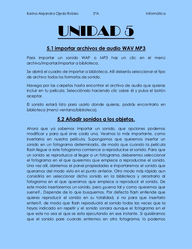 Karina Alejandra Ojeda Robles        3°A                           Informática                 UNIDAD 5           5.1 impo...
