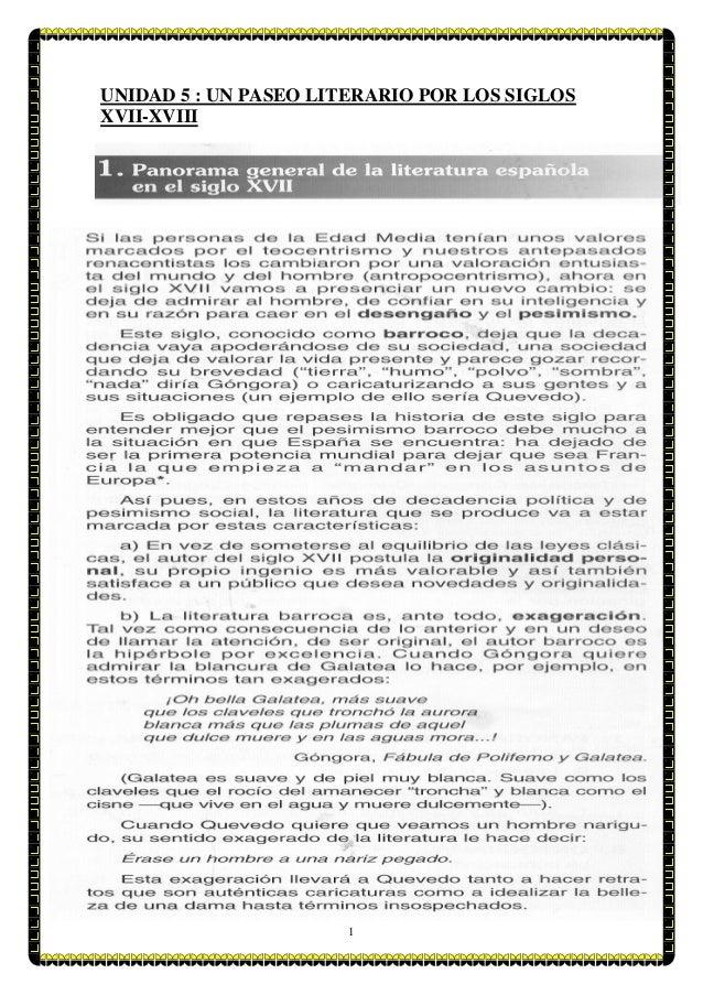 1 UNIDAD 5 : UN PASEO LITERARIO POR LOS SIGLOS XVII-XVIII