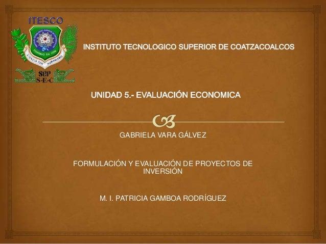 GABRIELA VARA GÁLVEZFORMULACIÓN Y EVALUACIÓN DE PROYECTOS DEINVERSIÓNM. I. PATRICIA GAMBOA RODRÍGUEZ