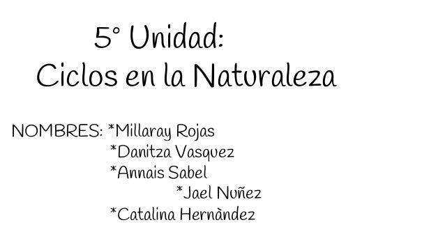 5º Unidad: Ciclos en la Naturaleza NOMBRES: *Millaray Rojas *Danitza Vasquez *Annais Sabel *Jael Nuñez *Catalina Hernàndez