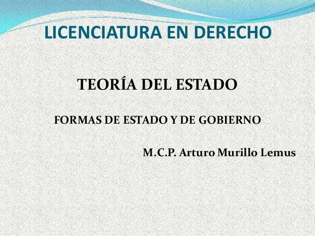 LICENCIATURA EN DERECHO    TEORÍA DEL ESTADO FORMAS DE ESTADO Y DE GOBIERNO             M.C.P. Arturo Murillo Lemus