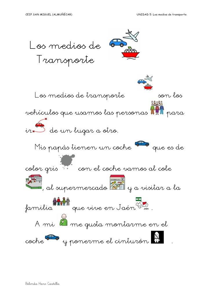 CEIP SAN MIGUEL (ALMUÑÉCAR)                      UNIDAD 5: Los medios de transporte  Los medios de      Transporte     Los...