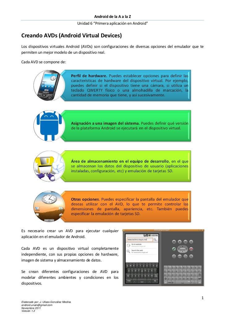 """Android de la A a la Z                                           Unidad 6 """"Primera aplicación en Android""""Creando AVDs (And..."""