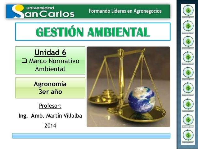Profesor: Ing. Amb. Martín Villalba 2014 Unidad 6  Marco Normativo Ambiental Agronomía 3er año