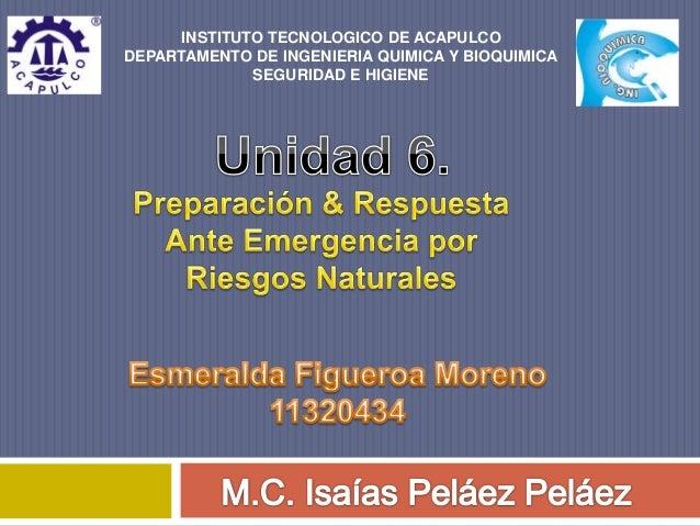 INSTITUTO TECNOLOGICO DE ACAPULCO  DEPARTAMENTO DE INGENIERIA QUIMICA Y BIOQUIMICA  SEGURIDAD E HIGIENE