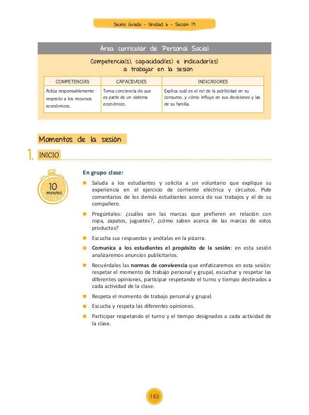 Unidad 6 sesiones Sexto Grado 2015
