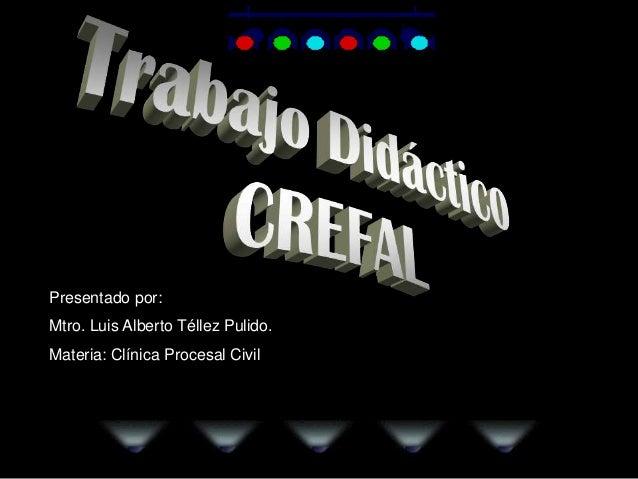 Presentado por: Mtro. Luis Alberto Téllez Pulido. Materia: Clínica Procesal Civil