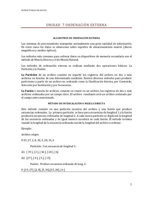 ESTRUCTURAS DE DATOS                          UNIDAD 7 ORDENACIÓN EXTERNA                                 ALGORITMOS DE OR...