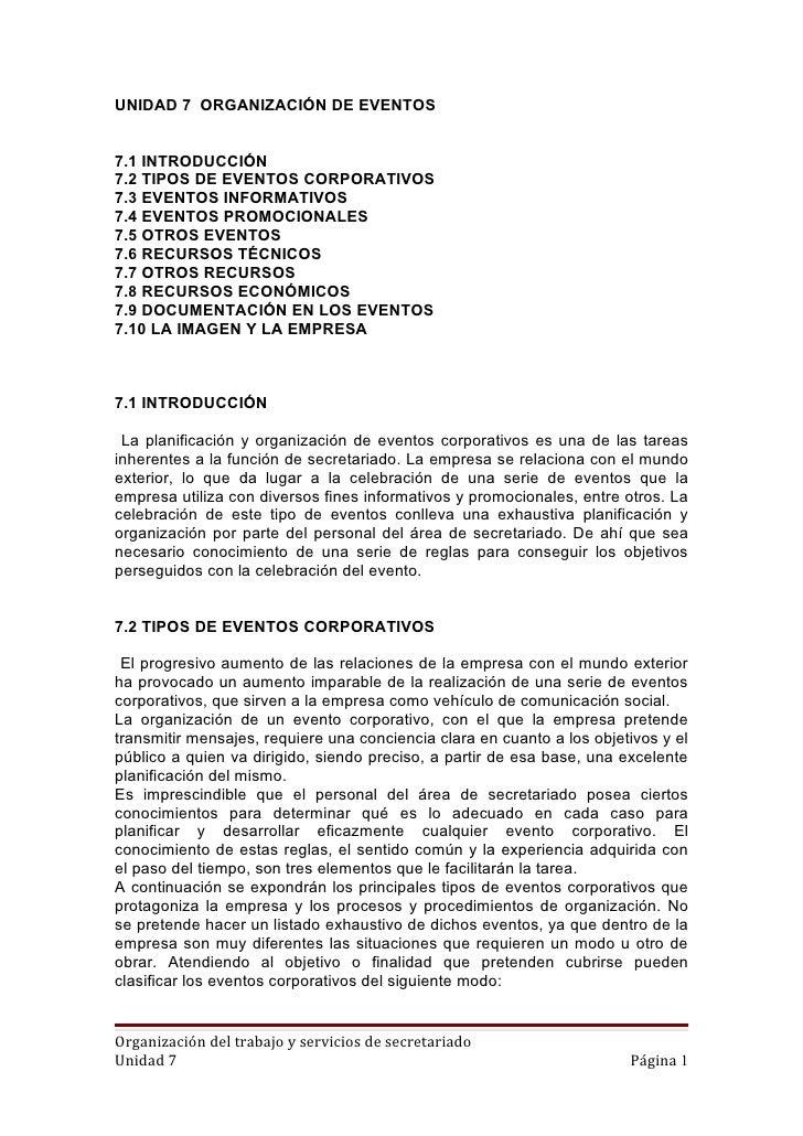 UNIDAD 7 ORGANIZACIÓN DE EVENTOS7.1 INTRODUCCIÓN7.2 TIPOS DE EVENTOS CORPORATIVOS7.3 EVENTOS INFORMATIVOS7.4 EVENTOS PROMO...