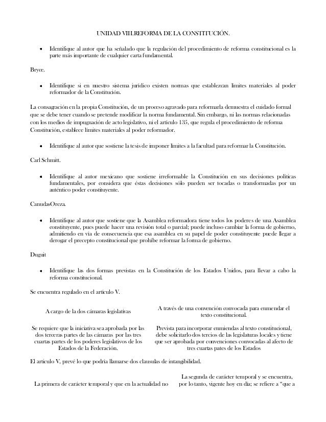 UNIDAD VIII.REFORMA DE LA CONSTITUCIÓN.Identifique al autor que ha señalado que la regulación del procedimiento de reforma...