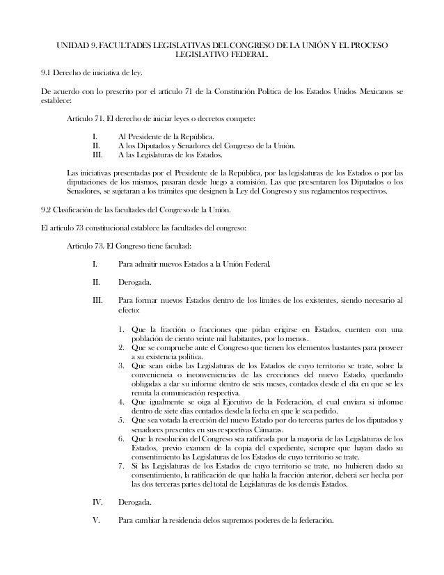 UNIDAD 9. FACULTADES LEGISLATIVAS DEL CONGRESO DE LA UNIÓN Y EL PROCESOLEGISLATIVO FEDERAL.9.1 Derecho de iniciativa de le...