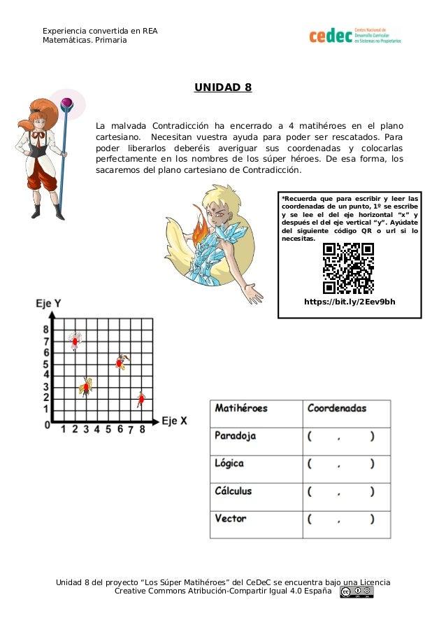 Experiencia convertida en REA Matemáticas. Primaria UNIDAD 8 La malvada Contradicción ha encerrado a 4 matihéroes en el pl...