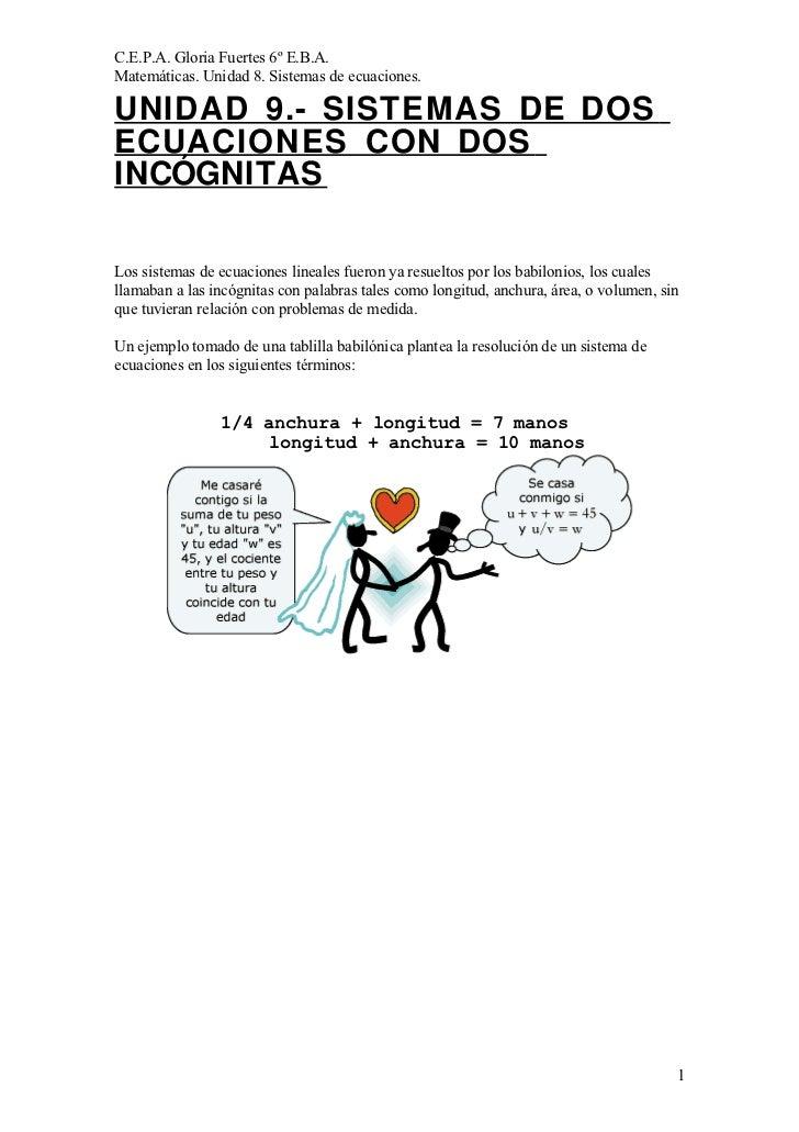 C.E.P.A. Gloria Fuertes 6º E.B.A. Matemáticas. Unidad 8. Sistemas de ecuaciones.  UNIDAD 9.- SISTEMAS DE DOS ECUACIONES CO...