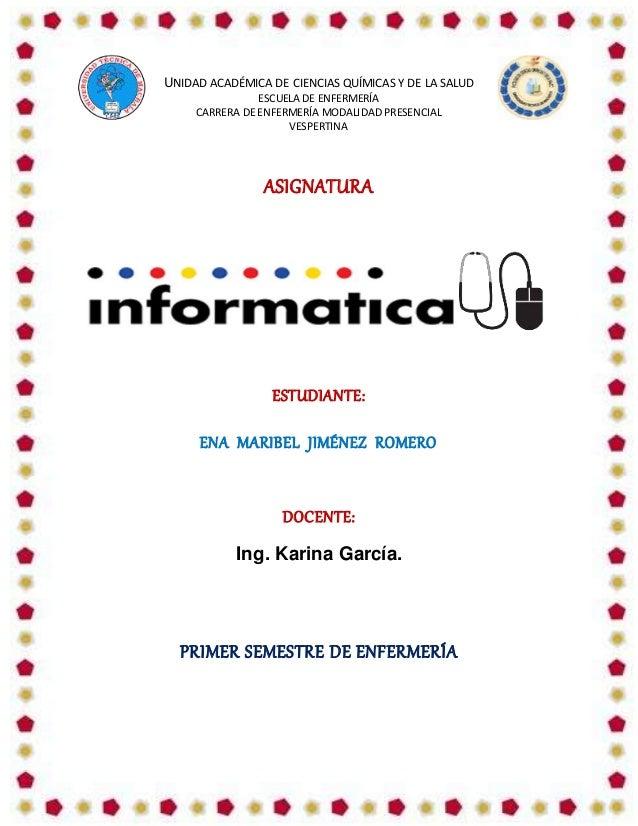 UNIDAD ACADÉMICA DE CIENCIAS QUÍMICAS Y DE LA SALUD ESCUELA DE ENFERMERÍA CARRERA DE ENFERMERÍA MODALIDAD PRESENCIAL VESPE...