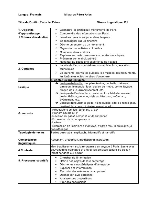 Langue: Français Milagros Pérez Arias  Titre de l'unité : Paris Je T'aime Niveau linguistique: B1  1. Objectifs  d'apprent...