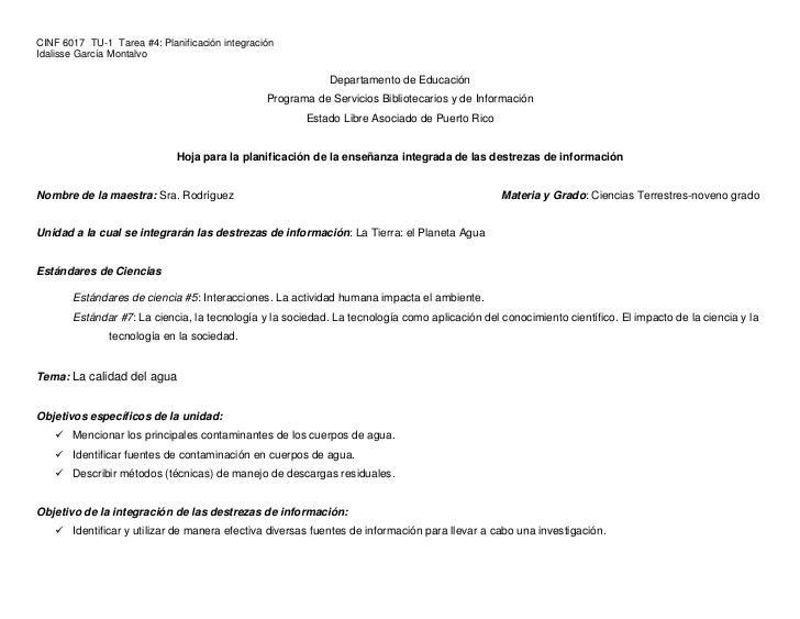 CINF 6017 TU-1 Tarea #4: Planificación integraciónIdalisse García Montalvo                                                ...