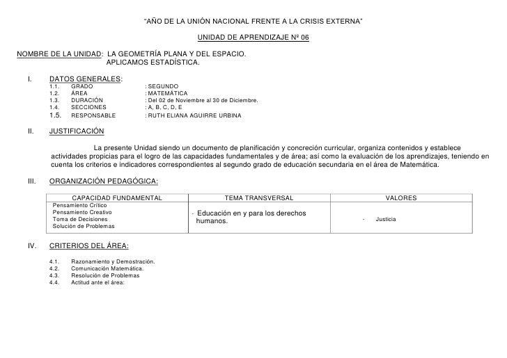 """""""AÑO DE LA UNIÓN NACIONAL FRENTE A LA CRISIS EXTERNA""""<br />UNIDAD DE APRENDIZAJE Nº 06<br />NOMBRE DE LA UNIDAD:  LA GEOME..."""