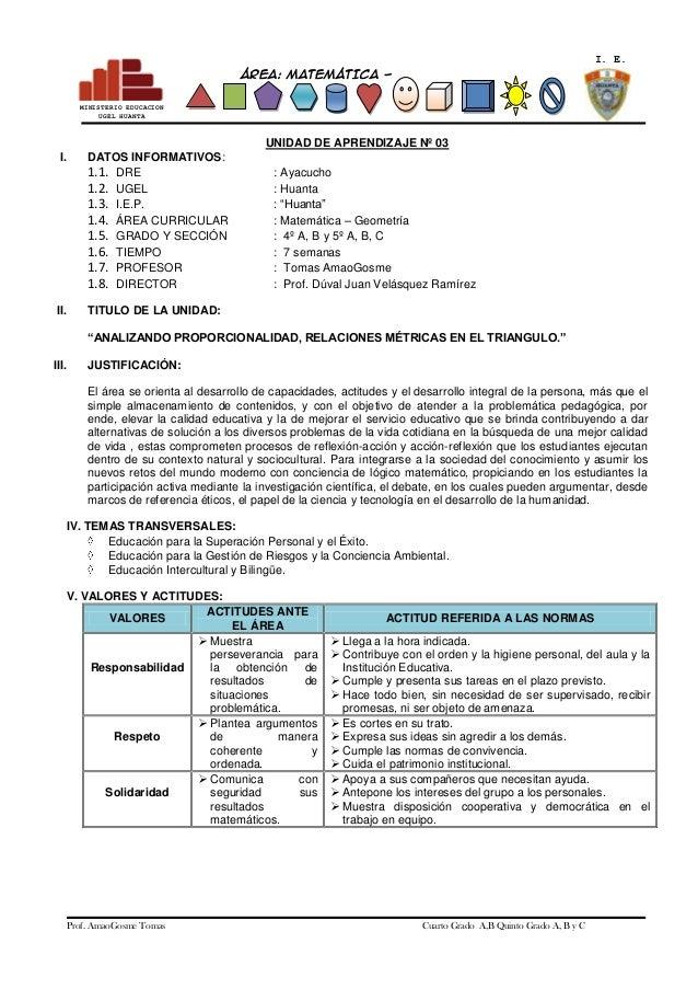 I. E. ÁREA: MATEMÁTICA GEOMETRÍA MINISTERIO EDUCACION UGEL HUANTA  UNIDAD DE APRENDIZAJE Nº 03 I.  II.  DATOS INFORMATIVOS...
