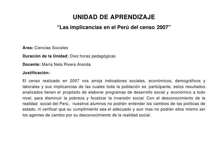 """UNIDAD DE APRENDIZAJE                  """"Las implicancias en el Perú del censo 2007""""   Área: Ciencias Sociales  Duración de..."""