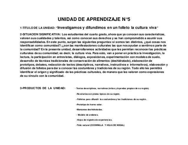 """UNIDAD DE APRENDIZAJE N°5 1-TITULO DE LA UNIDAD: """"Investigamos y difundimos en un folleto la cultura viva"""" 2-SITUACION SIG..."""