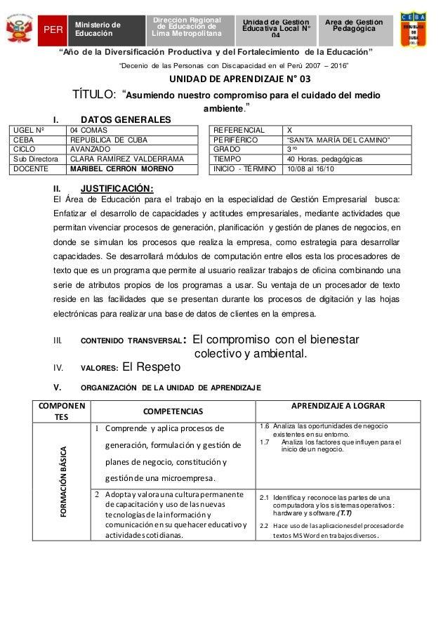 """""""Decenio de las Personas con Discapacidad en el Perú 2007 – 2016"""" UNIDAD DE APRENDIZAJE N° 03 TÍTULO: """"Asumiendo nuestro c..."""