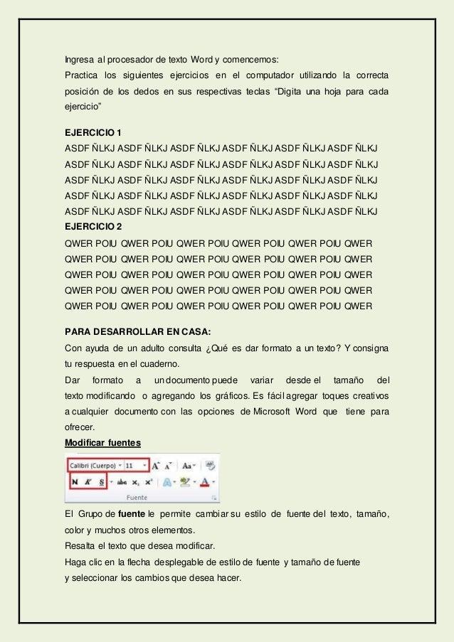 Ingresa al procesador de texto Word y comencemos: Practica los siguientes ejercicios en el computador utilizando la correc...