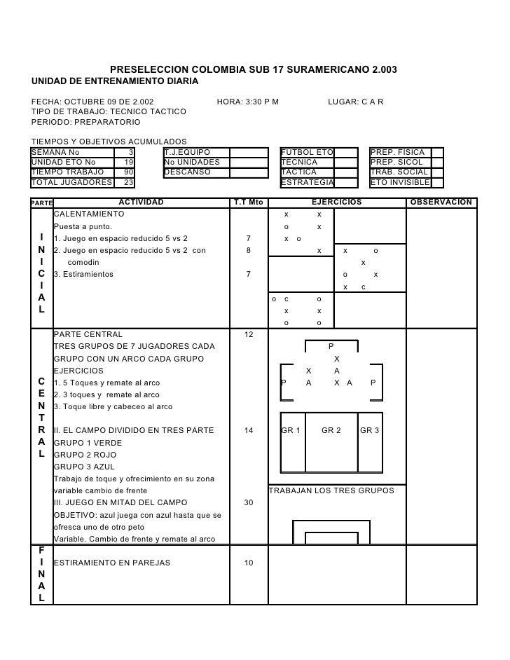 PRESELECCION COLOMBIA SUB 17 SURAMERICANO 2.003UNIDAD DE ENTRENAMIENTO DIARIAFECHA: OCTUBRE 09 DE 2.002                   ...