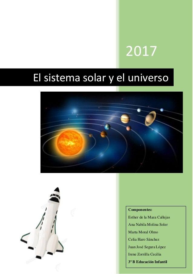 2017 16-1-2017 El sistema solar y el universo Componentes: Esther de la Maza Callejas Ana Nabila Molina Soler Marta Moral ...