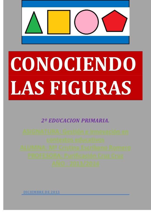 CONOCIENDO LAS FIGURAS 2º EDUCACION PRIMARIA.  ASIGNATURA: Gestión e innovación en contextos educativos ALUMNA: Mª Cristin...